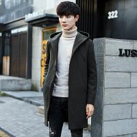 男士韩版中长款毛呢男青年连帽冬季呢子大衣帅气休闲潮流外套