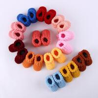 婴儿手工鞋 春秋款毛线鞋 手工编织毛线袜 花边爱心手工毛线鞋