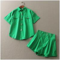POLO领单排扣衬衫+ 卷边短裤两件套装女D@61-126