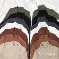 春装女装韩版修身显瘦弹力包芯纱长袖高领套头针织衫打底衫上衣潮
