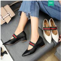 古奇天伦新款韩版百搭尖头春季单鞋英伦皮鞋中跟玛丽珍鞋春鞋子女粗跟TY05010