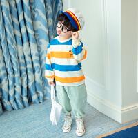 男童卫衣春季儿童中小童条纹打底衫时尚百搭上衣