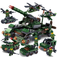 积木军事坦克城市警察工程车3-6周岁1男孩子益智玩具