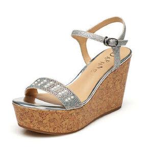 Daphne/达芙妮女鞋 夏季凉鞋女防水台高跟搭扣坡跟女凉鞋