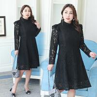 春秋装新款黑色立领蕾丝连衣裙 中长款胖妹妹镂空长袖时尚打底裙