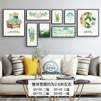客厅装饰画沙发背景墙北欧风格挂画组合美式墙画现代简约餐厅壁画 QX套餐21 多尺寸组合 黑框 整套价格