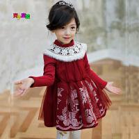 秋冬新款韩版童装女童加绒刺绣连衣裙加厚公主裙子新圣诞新年装