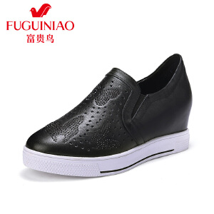 富贵鸟女鞋时尚头层牛皮潮流文艺水钻女单鞋透气微孔内增高鞋子