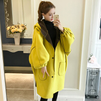 秋冬中长加肥加大风衣女宽松休闲两面穿外套女200-250斤毛呢大衣