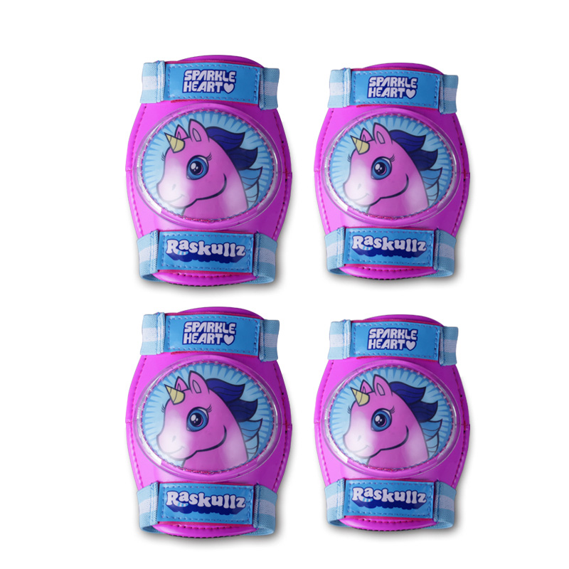 raskullz 莱斯狐 粉紫独角兽儿童护具 儿童运动护膝护肘套装 自行车滑板轮滑防护套装