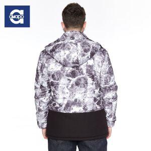 【限时抢购到手价:205元】AMAPO潮牌大码男装 潮胖子加肥加大码棉衣青年外套可脱卸帽棉服男