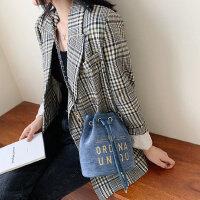 亚麻小包户外女士韩版百搭斜挎包链条包时尚水桶包