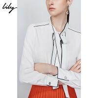 【超品一口价:179元】 Lily2019秋新款女装飘带宽松直筒中长款长袖套头雪纺衫衬衫8982