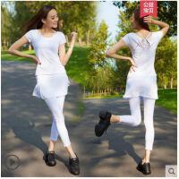 甜美气质时尚撞色短袖愈加服女健身服两件套含胸垫瑜伽服套装