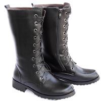 20180315114610688 男士皮靴马靴潮流男靴子系带夹层加绒长靴高筒皮靴潮流马丁靴