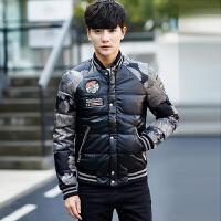 冬季短款羽绒服男士韩版修身潮流立领青年帅气外套灰鸭绒上衣 黑色