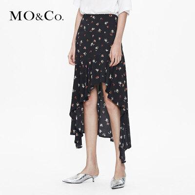 MOCO不规则碎花半身裙a字夏女高腰不对称新款中长款黑色显瘦 满399包邮 不规则裙摆 简约中腰剪裁