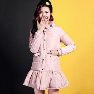 七格格冬新款 甜美荷叶边衣摆设计减龄连帽宽松棉服 女CN283