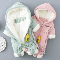 淘气麦兜 婴儿连体衣服女0-1岁秋冬加绒宝宝连帽长袖哈衣 新生儿加厚爬服冬