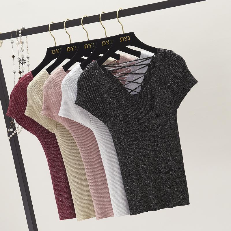2018新款小心机婊V领闪光丝亮丝针织衫女短袖T恤后背绑带闪闪上衣