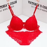2018新款文胸套装少女聚拢性感诱惑蕾丝内衣女胸罩调整型透气本命年红色