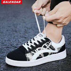 【限时特惠】Galendar情侣板鞋2018新款男女同款百搭时尚平底系带帆布潮流板鞋XCZ5902