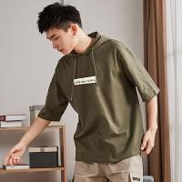 [2.5折价50元]唐狮2019夏季新款短袖卫衣男半袖五分袖连帽T恤宽松学生薄款