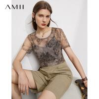 Amii极简轻透休闲短袖T恤女2021夏季新款圆领印花网纱百搭上衣