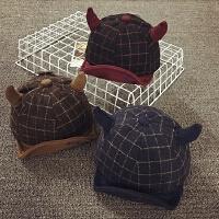 儿童帽子冬天鸭舌帽男宝宝帽子1-2岁秋季牛角婴儿棒球帽保暖韩版