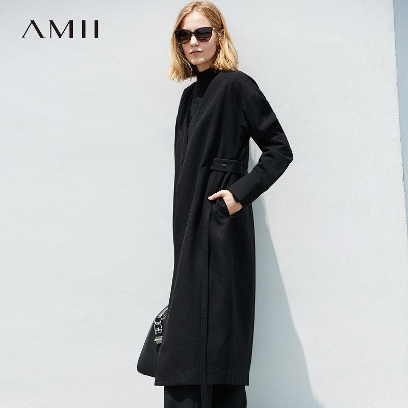 【大牌清仓 5折起】Amii[极简主义]时尚睿智感 V领羊毛呢外套女 冬季落肩袖腰带大衣