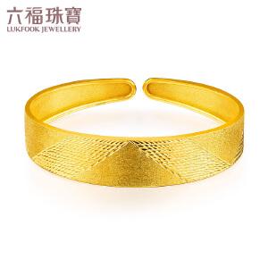 六福珠宝黄金手镯金色时光弹性足金软手镯开口金镯子 GDG10074