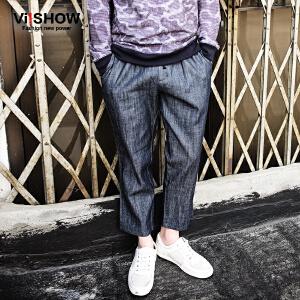 viishow春装新款牛仔长裤 欧美休闲裤松紧裤男 宽松直筒牛仔