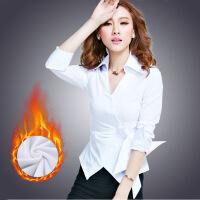 时尚衬衣女秋冬新款长袖白衬衫职业性感加绒保暖修身打底上衣