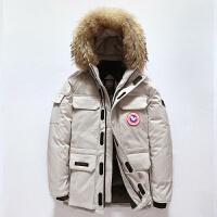 北极风格可拆卸帽羽绒服男潮短款新款冬季大鹅雪咒加厚学生工装情侣保暖外套