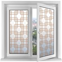玻璃膜窗户贴膜静电玻璃贴膜咖啡色格子不透明窗户贴纸中式窗贴复古玻璃贴纸防晒 咖啡色格子
