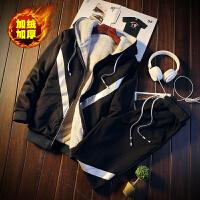 加绒卫衣男套装 韩版潮流连帽开衫两件套保暖冬装男士加厚运动服