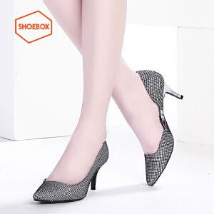 达芙妮旗下SHOEBOX/鞋柜春季新款时尚休闲单鞋酒杯跟套脚女鞋