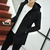 秋冬季加绒加厚连帽夹克男士大码运动外套男青少年上衣服潮胖男装 黑色薄款 M