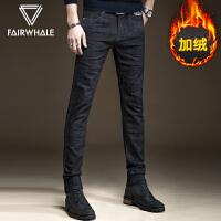 马克华菲加绒牛仔裤男2020秋季韩版男裤男士加厚黑色休闲修身长裤