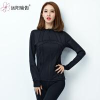 修身跑步外套女训练健身显瘦运动高弹夹克上衣 QJS602Y-08黑色上衣