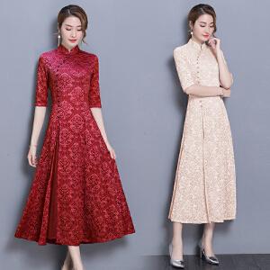 RANJU然聚 2018夏季女装新品新款长款蕾丝旗袍裙日常改良优雅淑女奥黛旗袍