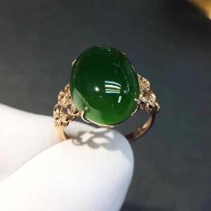 纯天然和田碧玉戒指,主石10*14mm,精品碧玉