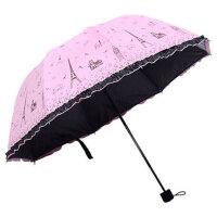 晴雨两用雨伞女折叠韩版小清新简约学生黑胶防晒太阳伞遮阳伞三折