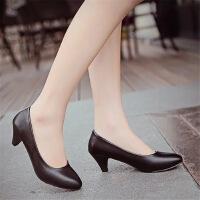 夏尖头细跟女鞋皮鞋女小码职业鞋工作鞋黑色正装高跟鞋女单鞋 亚光5cm