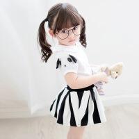 GY060-夏季新款日系童装女童熊猫娃娃领上衣+条纹短裙套装