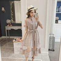 AGECNETRE 2018新款显瘦连衣裙夏季拼接网纱短袖格子中长裙斯文女生假两件高腰裙