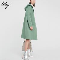 Lily2018秋新款女装纯色直筒长款暗扣连帽毛呢大衣118100B1710