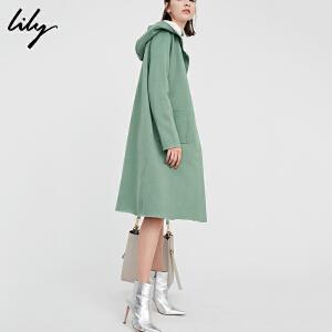 【每满200减100】Lily2018秋新款女装纯色直筒长款暗扣连帽毛呢大衣118100B1710
