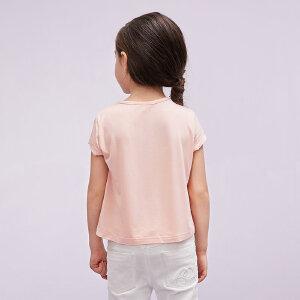 【尾品汇 5折直降】amii童装2017夏季女童中大童圆领T恤纯色套头休闲儿童短袖