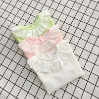 春夏韩范婴儿打底衫薄款甜美宝宝花边领长袖t恤女童衬衣0-1-2-3岁